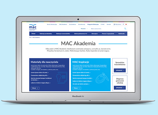 Strona internetowa MAC - MacBook Air